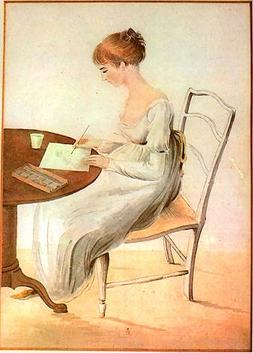 Illustration of Jane Austen writing at a table
