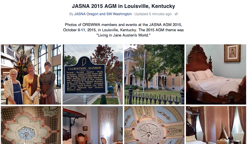 Screenshot of Facebook album for JASNA 2015 AGM