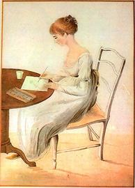 Painting of Jane Austen writing letters