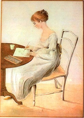 Illustration of Jane Austen writing